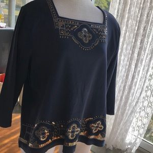 Alfred Dunner beautiful gold embellished top XL
